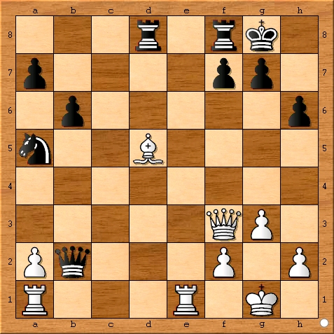 The position after Magnus Carlsen plays 22... Qxb2.