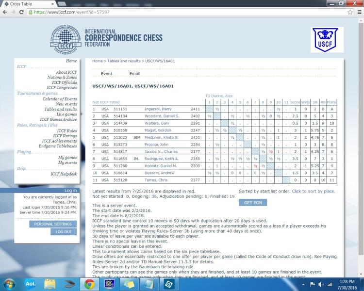 The 2016 USCF Absolute Correspondence Chess Championship