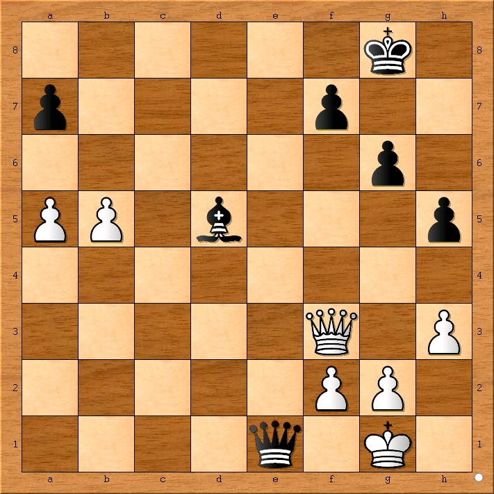 White is in check and will lose his queen.