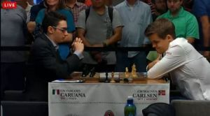 Fabiano Caruana and Magnus Carlsen at the 2014 Sinquefield Cup.