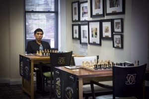 Wesley So alone at the board(photo by: Lennart Ootes, Chess Club and Scholastic Center of St. Louis)