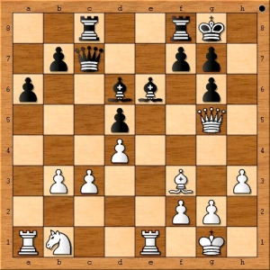 Position from Fabiano Caruana vs Emory Tate. Black to move and win!
