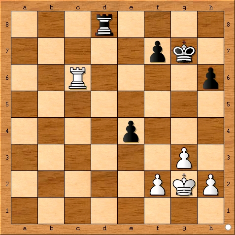 The position after Magnus Carlsen plays 34... fxe4.